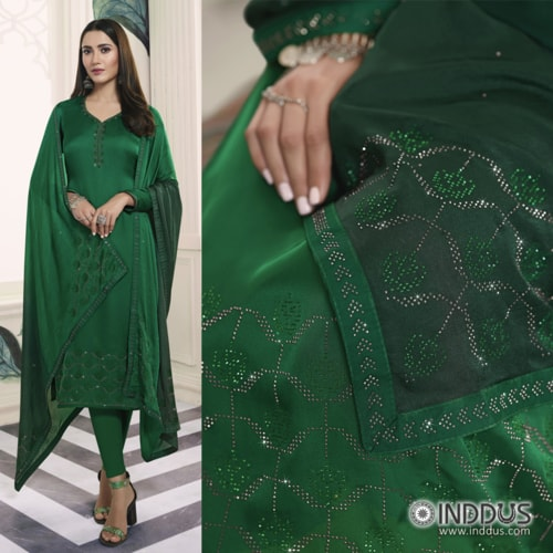 Green Embroidered Partywear Straight Kurta with Pant Suit via Sagar Singh