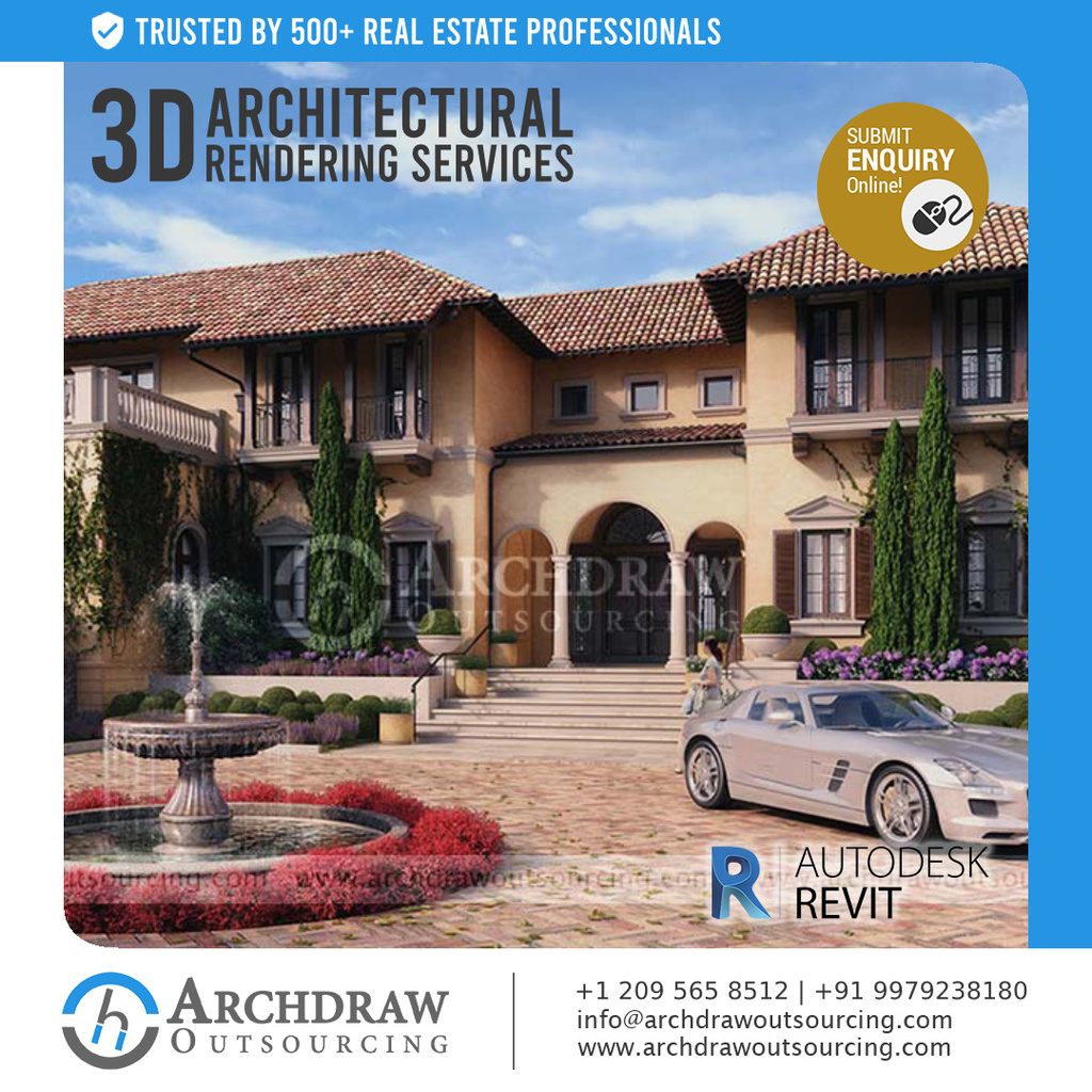 3D Architectural Rendering Services via Archdraw Outsourcing