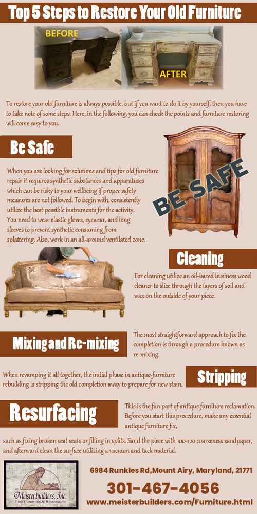 Top 5 Steps to Restore Your Old Furniture via Meisterbuilders, Inc.