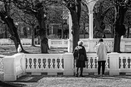 Two women have stopped to look at the birds in the artificia... via Jukka Heinovirta