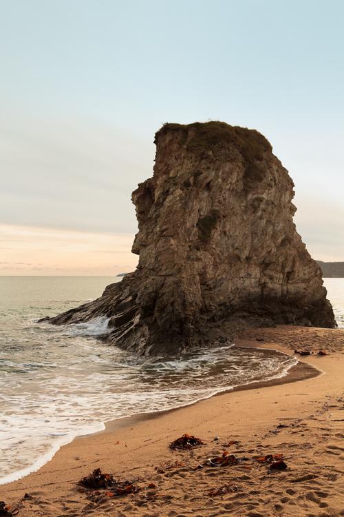 The waves splash to the giant rock at St. Austell, Cornwall,... via Jukka Heinovirta