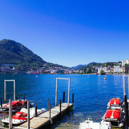 Purchase digital downloads and a range of printed products of Jon Davatz Photography's image - Lugano Lake with San Salvatore