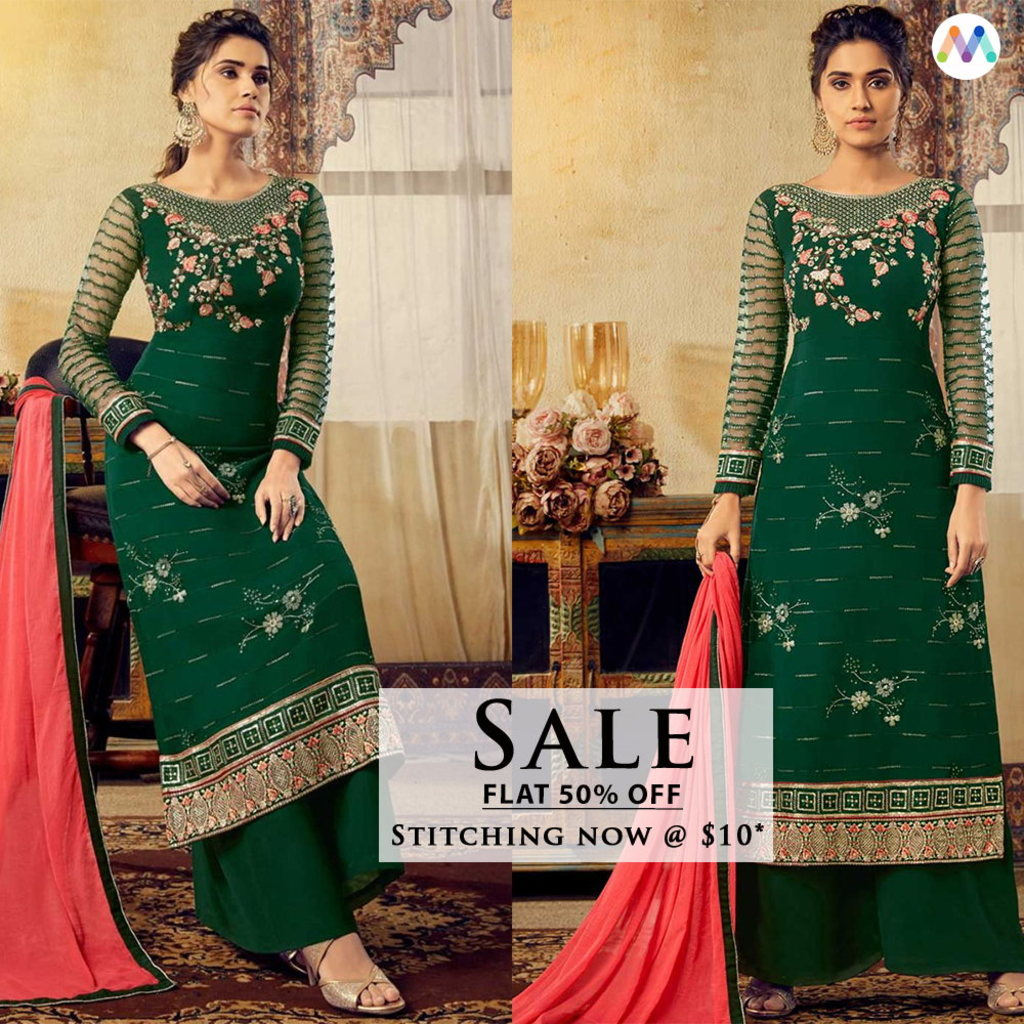 Steal the limelight with this subtle embroidery and straight... via Swapnil Shah