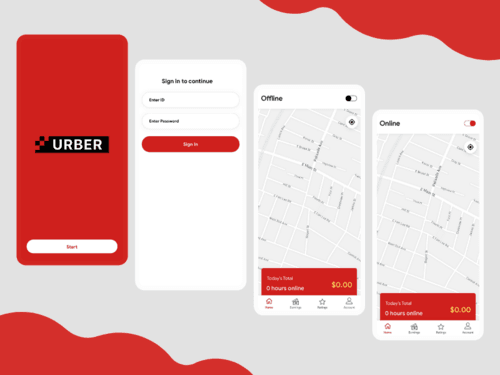 Login and Home Screens For Food Delivery Boy App