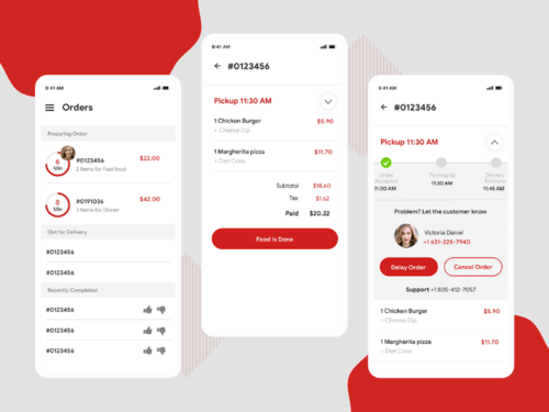 Orders Screens For Restaurant Food Delivery App