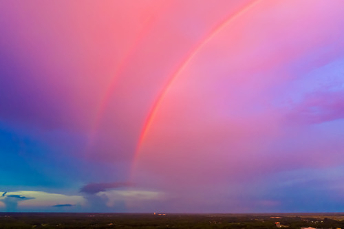 Double Rainbow at Sunset via Stacy White