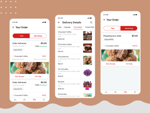 Order History & Delivery Details Screens For Food Delivery App