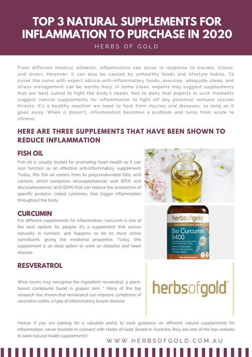 Top 3 Natural Supplements for Inflammation to Purchase in 2020