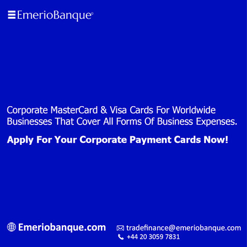 Corporate Mastercard And Visa Cards For Worldwide Businesses via Emerio Banque