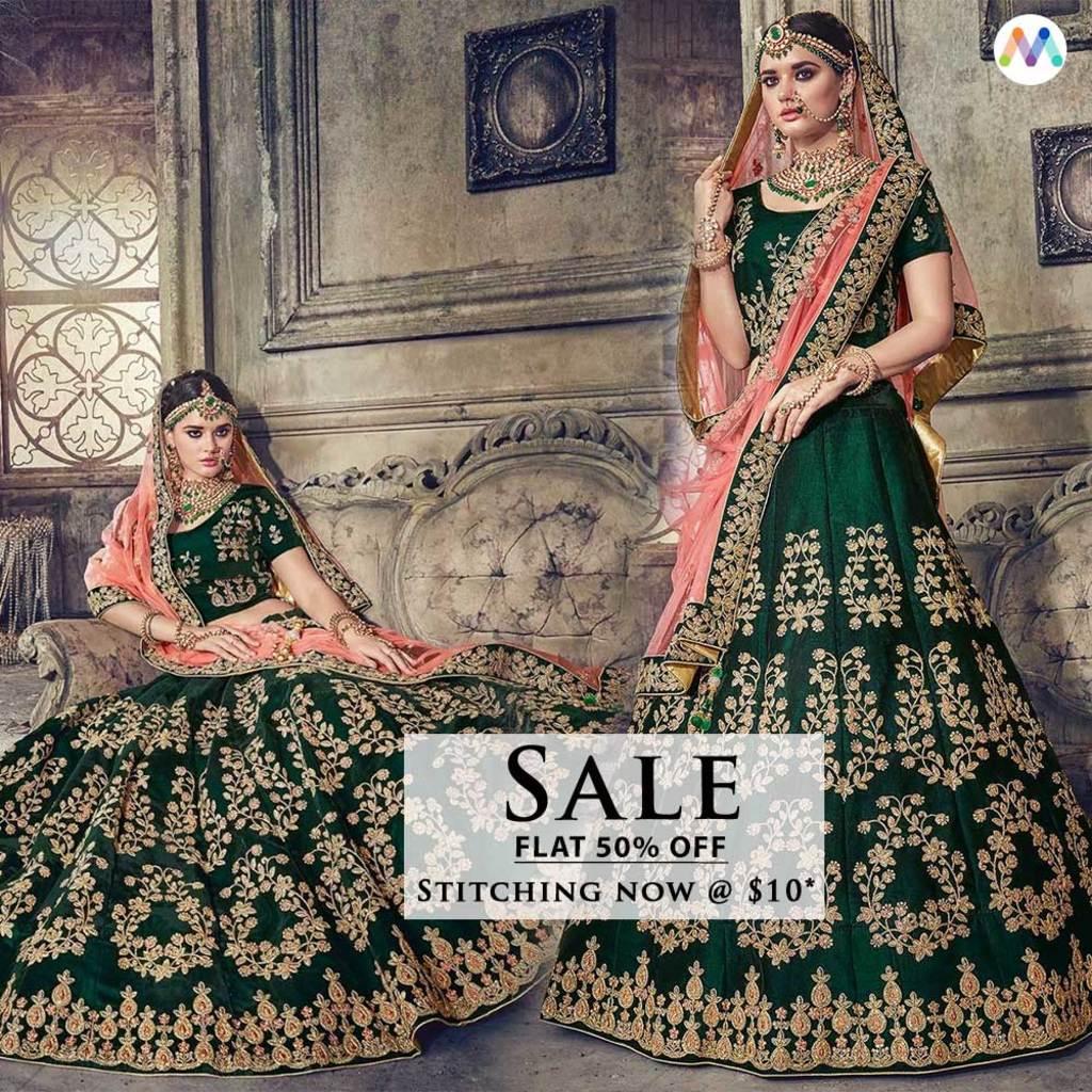 Exotic Green Party Wear Lehenga Choli. via Swapnil Shah