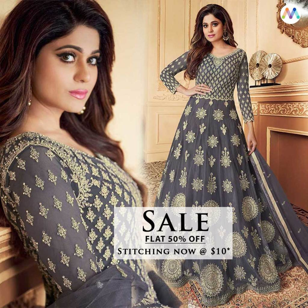 Royal Grey Partywear Anarkali Suit via Swapnil Shah