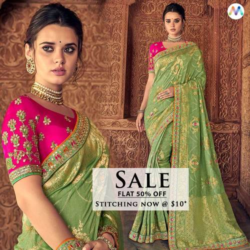 Outstanding Green Embroidered Traditional Sarees. Celebratin... via Swapnil Shah