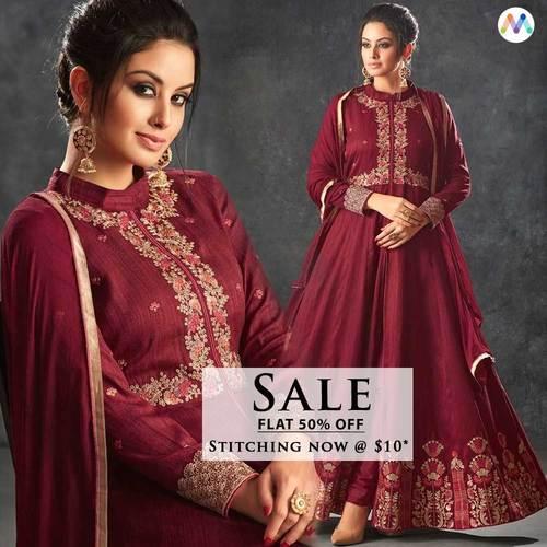 Amazing Maroon Partywear Anarkali Suit. Let your inner beaut... via Swapnil Shah