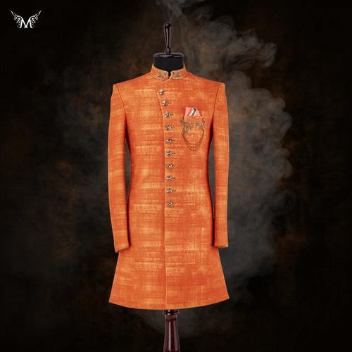 Orange Indowestern wear via Meraj ek pehchaan
