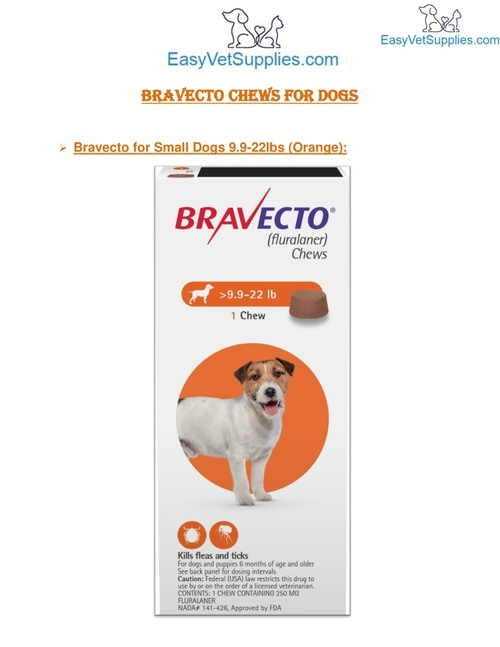Bravecto for Small Dogs 9.9-22lbs (Orange) - Easyvetsupplies