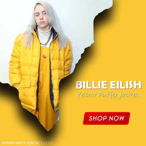 Billie Eilish Yellow Puffer Jacket                                         Order                                          ➡️Follow Us, Like ... via famous jacket