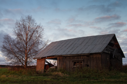 The setting sun lights up the old abandoned barn house. The ... via Jukka Heinovirta