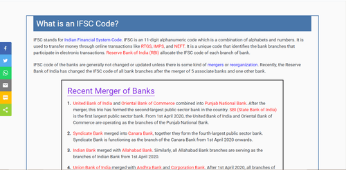 All banks of India   IFSC, MICR Code, Address, Contact details, etc. for RTGS, NEFT & IMPS.