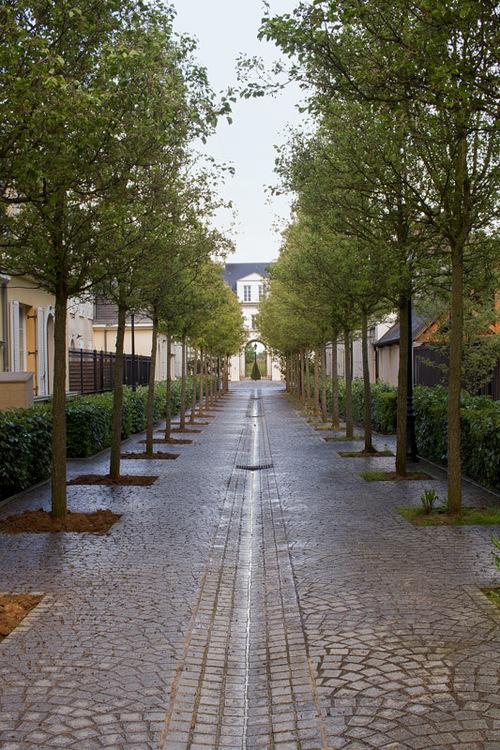 The alley in soaking wet on a rainy day in Serris, France. T... via Jukka Heinovirta