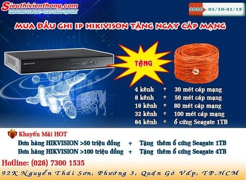 Siêu khuyến mãi mua đầu ghi Hikvision tặng Cáp mạng tại Sieuthivienthong.com