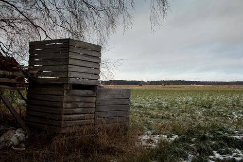 Three wooden crates stand by the frosty fields. The winter i... via Jukka Heinovirta