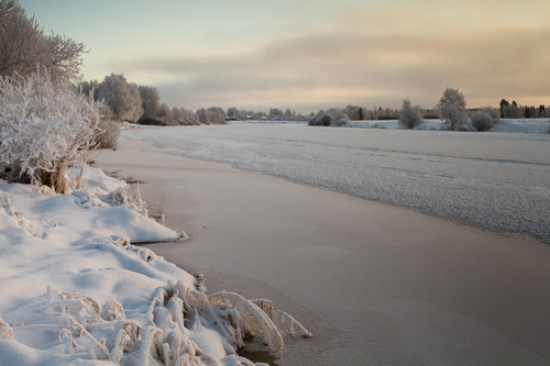 The river water is slowly freezing on a cold winter day at t... via Jukka Heinovirta