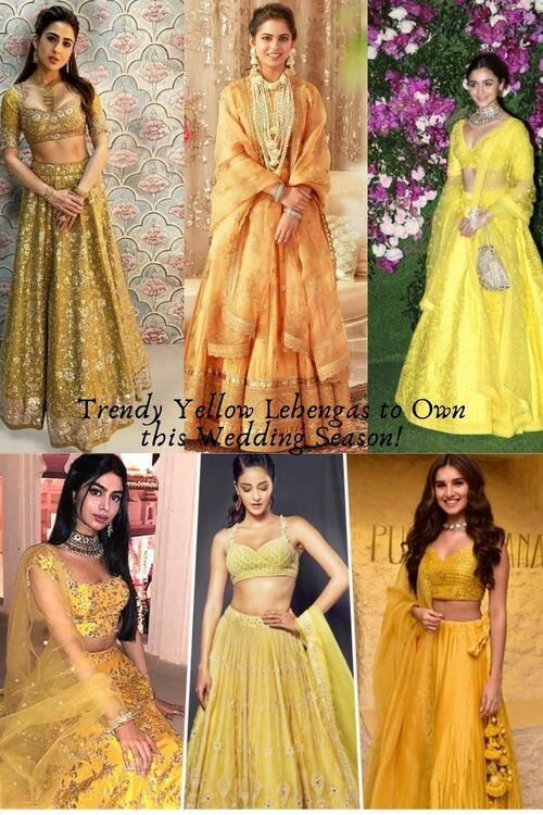 Trendy Yellow Lehengas to Own this Wedding Season! via Siya Gupta