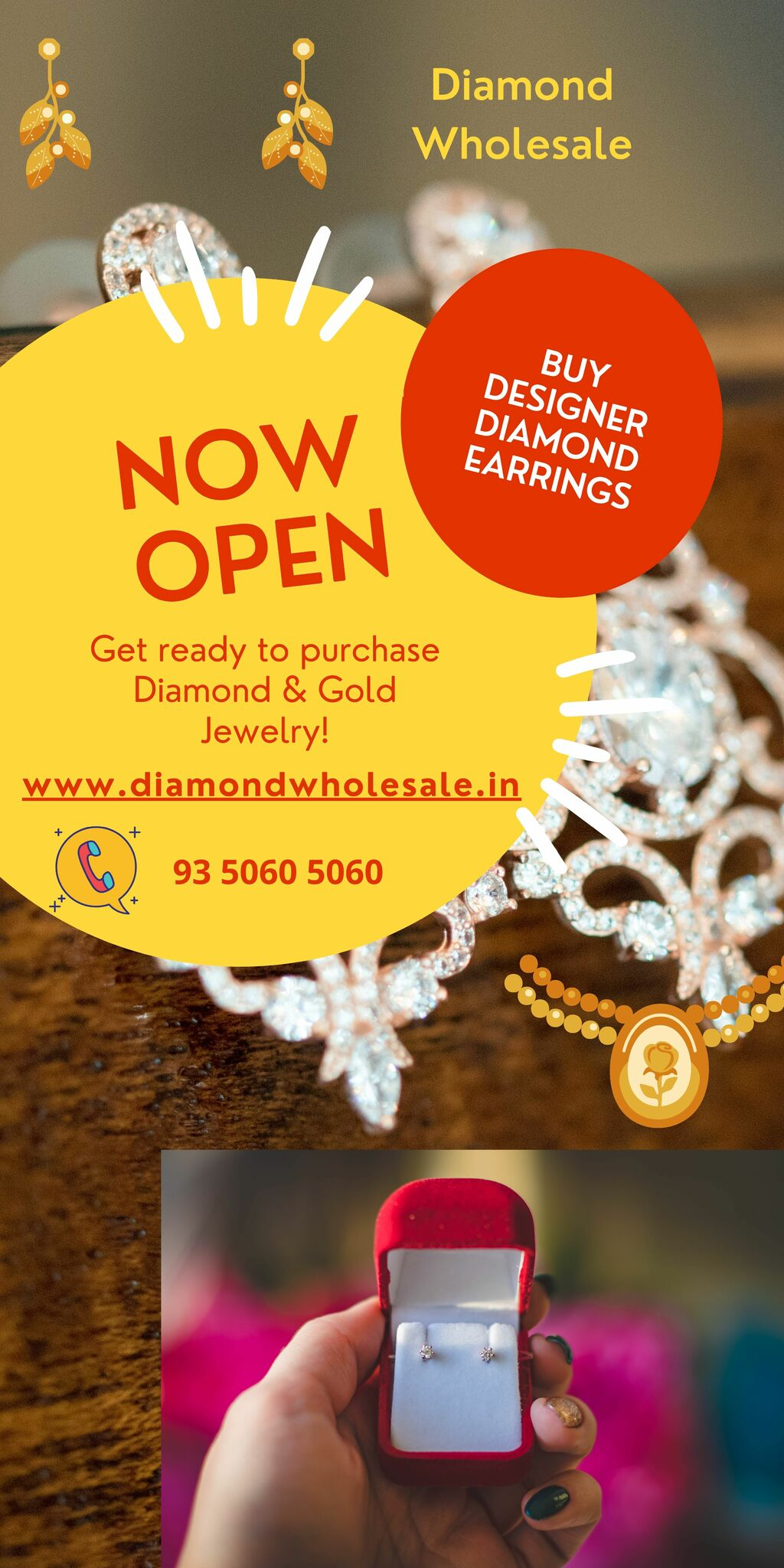 Book Diamond Earrings online via Diamond Wholesale
