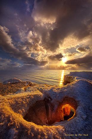 Sunrise on the shore of Lake Michigan in Kenosha, Wisconsin.... via Phil Koch
