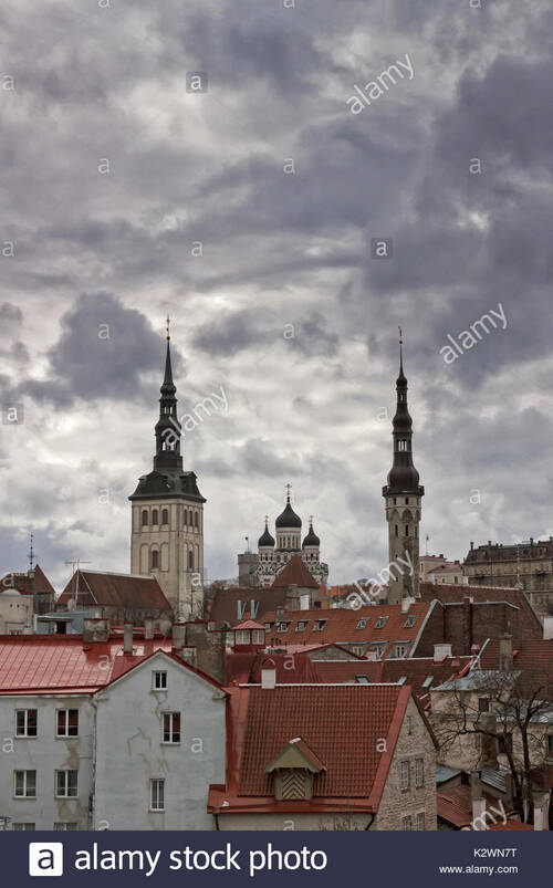 Stock Photo - The Alexander Nevski cathedral rises behind the rooftops of the old town in Tallinn, the capitol of Estonia