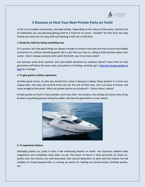 Hire yacht in Goa| Yacht for Private Parties in Goa - Luxury Rental