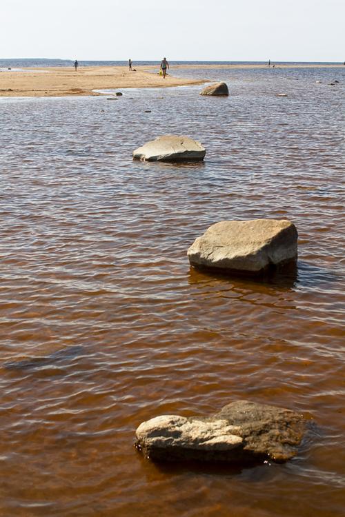 Four rocks by the long sand bank at the Kalajoki beach in th... via Jukka Heinovirta
