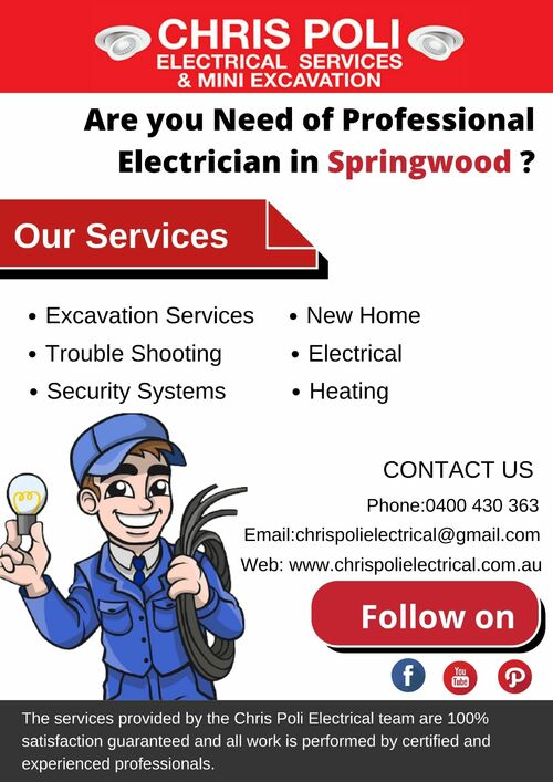 Your Local Electrician in Springwood via Chris Poli Electrical Services