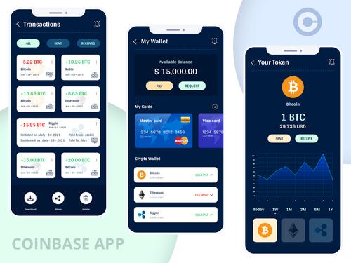 Coinbase App Redesign via World Web Technology Pvt. Ltd.