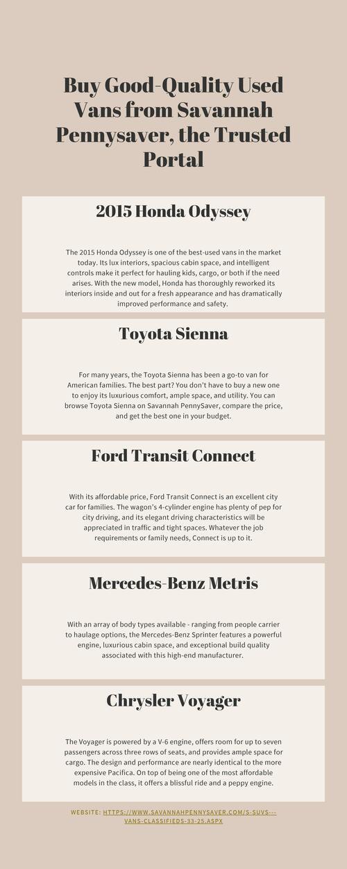 Savannah Pennysaver lists the top 5 good-quality used vans t... via david smith