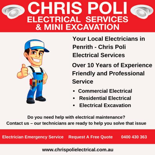 Expert Electricians in Penrith via Chris Poli Electrical Services