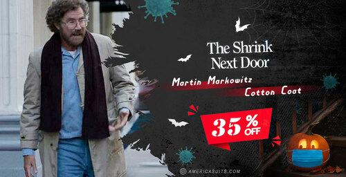 The Shrink Next Door Martin Markowitz Cotton Coat via Mark Wilson