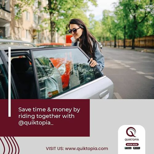 Save time & money by riding together with Quiktopia. Downloa... via Quiktopia