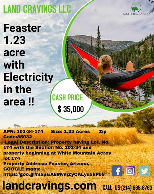 Feaster 1.23 acre with Electricity in the area via Land Cravings