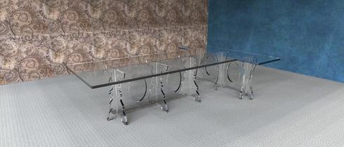 18mm Clear Acrylic / Knock-Down Dining Table via Opel Mendoza