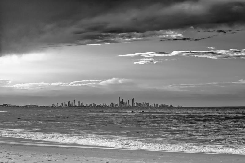 Gold Coast City Skyline Behind The Waves via Jukka Heinovirta