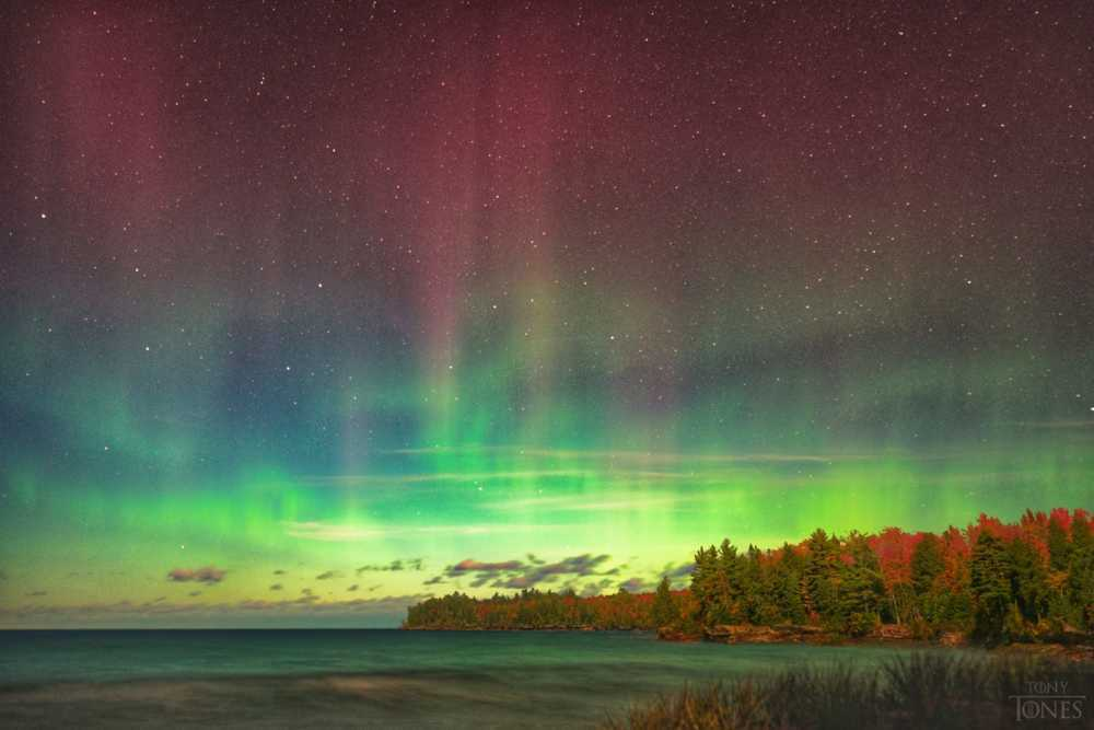 Northern Tones - moonlit Lake Superior cliffs during aurora ... via Tony Bennett