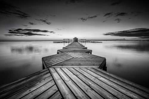 A b&w shot of this amazing hexagonal pier, that you find in ... via Peter Földiak