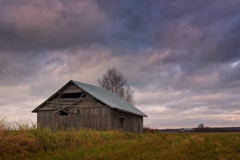 Old Barn House Under The Autumn Skies via Jukka Heinovirta
